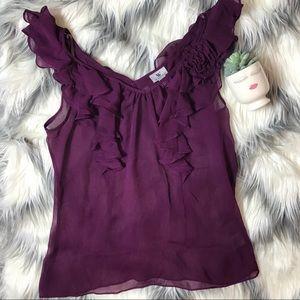 Worthington Purple Sheer Sleeveless Top